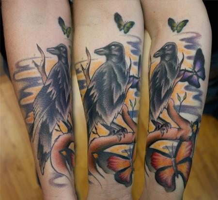 Ryan Mullins - Colored raven with butterflies tattoo