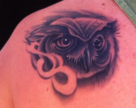 Mike Riedl - Black and Grey realistic owl portrait tattoo