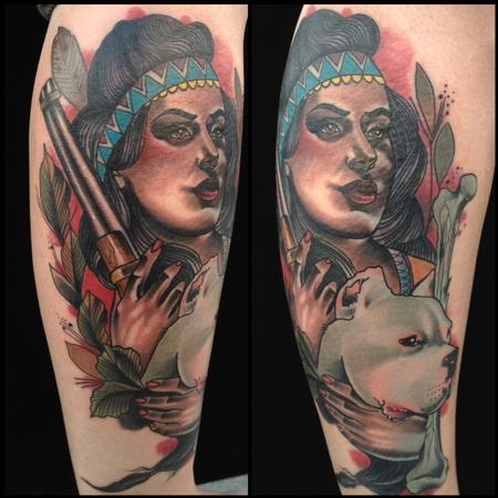 Gary Dunn - traditional color native girl with dog and gun, Gary Dunn Art Junkies Tattoo