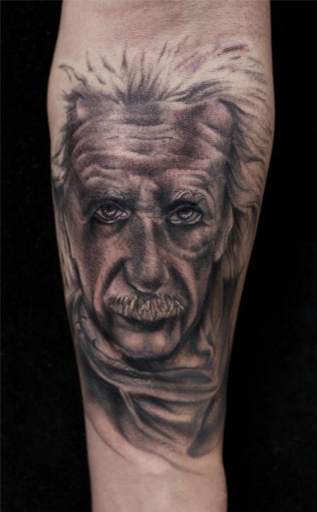 Ryan Mullins - black and gray portrait of Albert Einstein tattoo