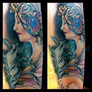 colored traditional portrait tattoo Tattoo Design Thumbnail