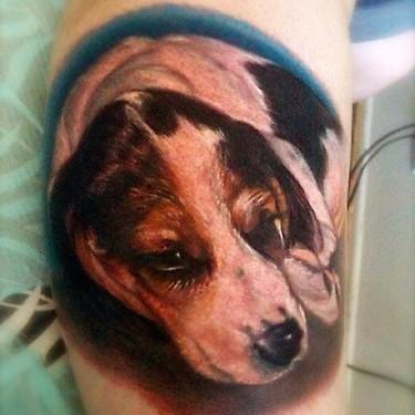 Tattoos - color realistic portrait of dog tattoo. - 69489