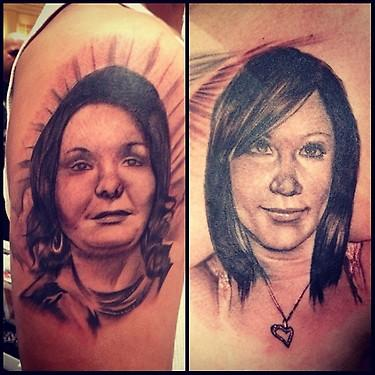 Big Gus - black and gray realistic portrait tattoo, Big Gus Art Junkies Tattoos