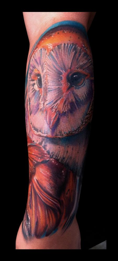 Brent Olson - Owl realistic color tattoo Brent Olson Art Junkies Tattoo