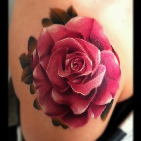 Brent Olson - Realistic color rose Brent Olson Art Junkies Tattoo