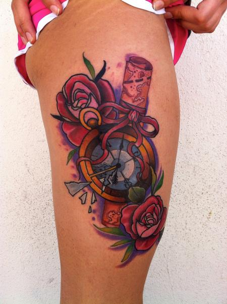 Traditional color compass with rose and map tattoo, Mike Riedl Art Junkies Tattoo Tattoo Design Thumbnail