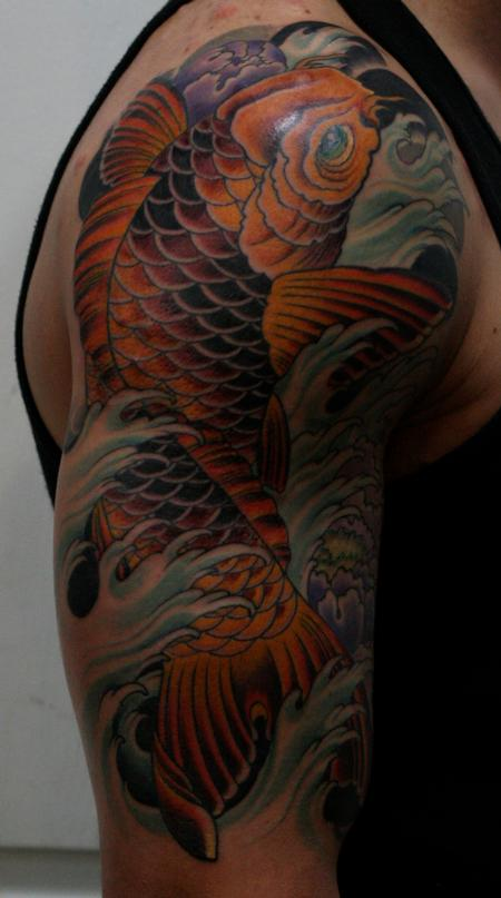 Tim Mcevoy - Traditional colored koi fish tattoo