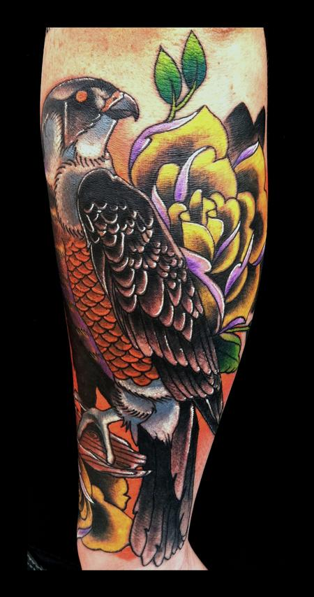 traditional hawk bird color roses brent olson art junkies tattoo Tattoo Design Thumbnail