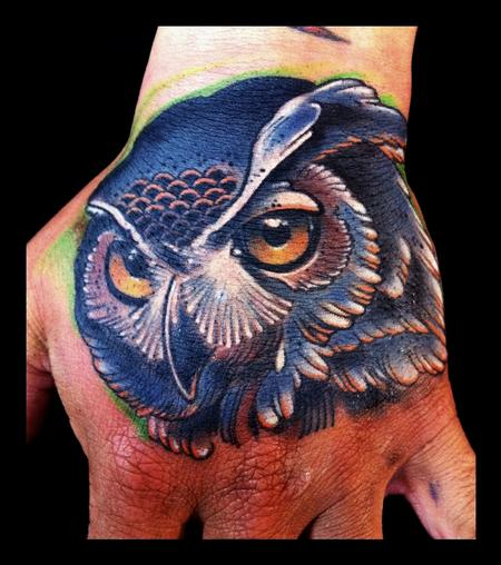 Brent Olson - Owl traditional color hand tattoo Brent Olson Art Junkies Tattoo