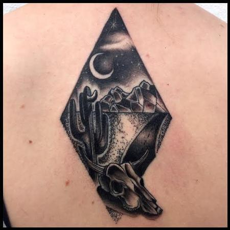 Frichard Adams - Black and Gray traditional desert sense tattoo, Frichard Adams Art Junkies Tattoo