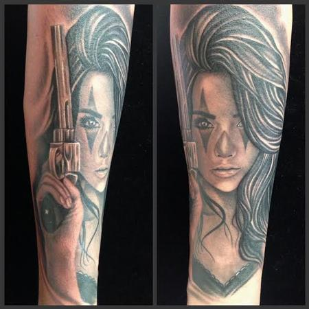 Scott Grosjean - Realistic black and gray girl with gun portrait tattoo. Scott Grosjean Art Junkies Tattoo.