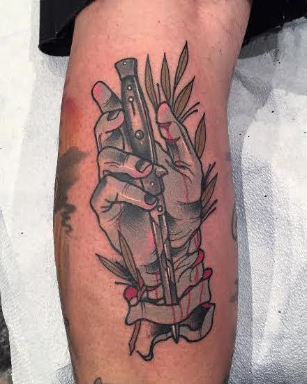 Gary Dunn - Traditional color hand with switch blade tattoo, Gary Dunn Art Junkies Tattoo