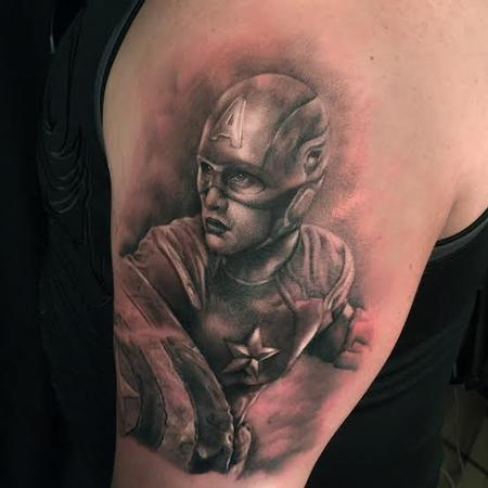 Ryan Mullins - Realistic black and gray caption america tattoo, Ryan Mullins Art Junkies Tattoo