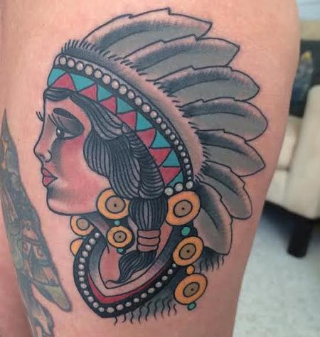 Gary Dunn - Traditional color indian girl tattoo, Gary Dunn Art Junkies Tattoo