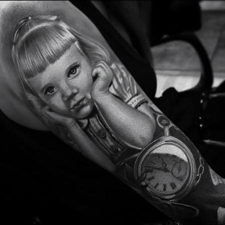 Brent Olson - Realistic color portrait of little girl and pocket watch tattoo, Brent Olson Art Junkies Tattoo