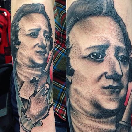 Black and gray Alexander Hamilton portrait, Gary Dunn Art Junkies Tattoo Tattoo Design Thumbnail