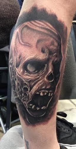 Tattoos - Realistic black and gray zombie tattoo, Scott Grosjean Art Junkies Tattoo - 99696