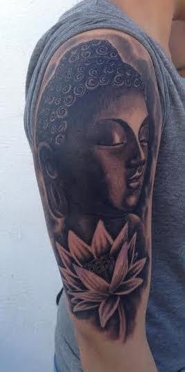 Scott Grosjean - Black and gray buddha tattoo with flower. Scott Grosjean Art Junkies Tattoo