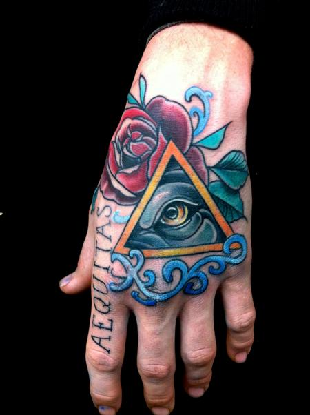 Mike Riedl - Traditional color wolf eye with a rose tattoo, Mike Riedl Art Junkies Tattoo