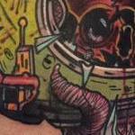 Traditional color skull in helmet tattoo, Mike Riedl Art Junkies tattoo Tattoo Design Thumbnail