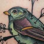 Tattoos - Traditional color bird with heart tattoo. Mike Riedl Art Junkies Tattoo - 100092