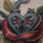 Tattoos - Traditional color rose with heart locket tattoo, Mike Riedl Art Junkies Tattoo - 99760