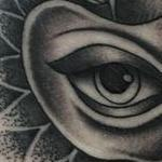 Traditional black and gray apple with eye and sacred geometry tattoo. Mike Riedl  Tattoo Design Thumbnail