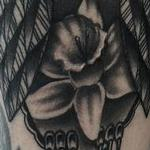 Tattoos - Traditional black an gray owl with daffodil tattoo, Frichard Adams Art Junkies Tattoo - 106601