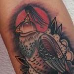Tattoos - Traditional color bird on hand with rose tattoo, Mike Riedl Art Junkies Tattoo - 104274