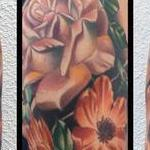 Realistic color flower sleeve tattoo, Brent Olson Art Junkies Tattoo Tattoo Design Thumbnail