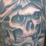 Tattoos - Realistic black and gray pilot skull tattoo. Scott Grosjean Art Junkies Tattoo  - 108722