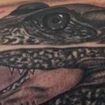Tattoos - Realistic black and gray alligator tattoo, Scott Grosjean Art Junkies Tattoo - 108757