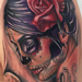 realistic color day of the dead girl with skull tattoo, Brent Olson Art Junkies Tattoo Tattoo Design Thumbnail