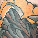 Tattoos - Traditional color pipe with water and mountains tattoo. Gary Dunn Art Junkies Tattoo  - 103791