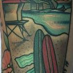 Tattoos - Traditional color surf board with ocean scene inside tattoo, Gary Dunn Art Junkies Tattoo - 106567