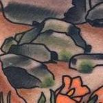 Traditional color giant rock in landers scene tattoo, Gary Dunn Art Junkies Tattoo  Tattoo Design Thumbnail