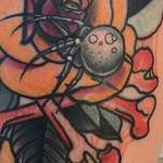 Tattoos - Traditional color rose with spider and bones tattoo. Mike Riedl Art Junkies Tattoo - 100088