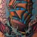 Tattoos - Colored traditional clipper ship with anchor tattoo Mike Riedl Art Junkies Tattoo - 72915