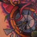 Tattoos - Traditional color compass with rose and map tattoo, Mike Riedl Art Junkies Tattoo - 100033