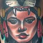 Tattoos - Traditional native girl with lion on head tattoo, Gary Dunn Art Junkies Tattoo - 100523