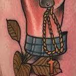 Tattoos - Traditional color hand holding knife tattoo, Gary Dunn Art Junkies Tattoo  - 108511
