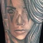 Tattoos - Realistic black and gray girl with gun portrait tattoo. Scott Grosjean Art Junkies Tattoo. - 108621