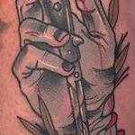 Tattoos - Traditional color hand with switch blade tattoo, Gary Dunn Art Junkies Tattoo  - 108570