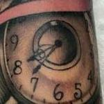 Traditional color pocket watch with banner tattoo. Frichard Adams Art Junkies Tattoo.  Tattoo Design Thumbnail