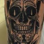 Tattoos - Traditional black and gray sugar skull with roses tattoo, Mike Riedl Art Junkies Tattoo - 100198