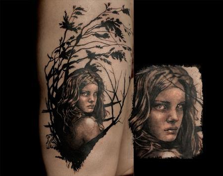 Aubrey Mennella - Abstract portrait tattoo