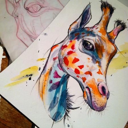 Tattoos - giraffe watercolor tattoo design - 109600
