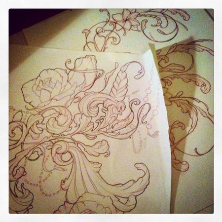Tattoos - filigree and roses tattoo design - 109599