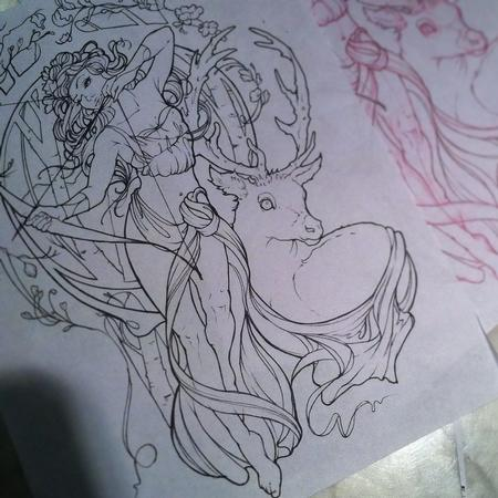 Tattoos - Art Nouveau Artemis tattoo outline - 109601