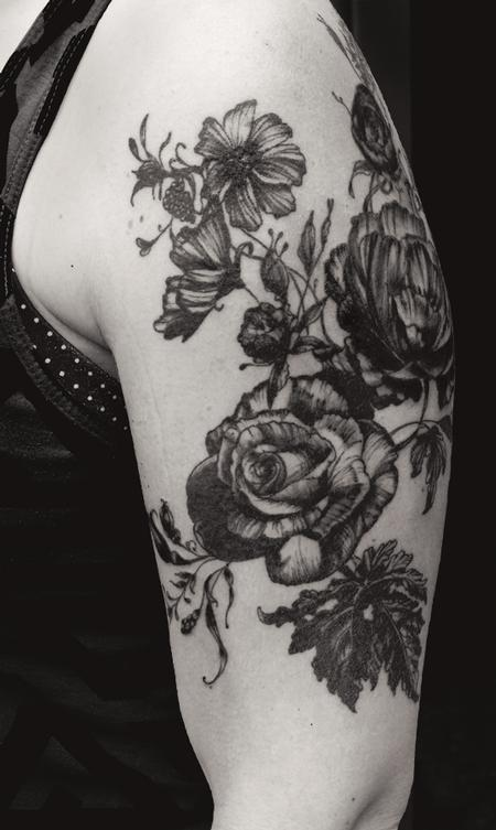 Aubrey Mennella - black works vintage botanical rose flower tattoo